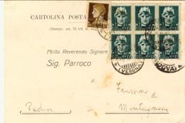 1946- Cartolina Municipale Affrancata 10c.Imperiale+blocco Di Sei Del 15c. Annullo Minerbe Verona - 6. 1946-.. Repubblica