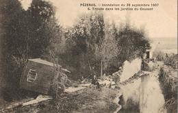 34 - PÉZENAS - INONDATION DU 26 SEPTEMBRE 1907 - TROUÉEDANS LES JARDINS DU COUVENT - Pezenas