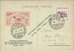 LUI108-Cartolina Con 50 Cent. Lupa 31.12.1944 Settimana Filatelica Romana - Bella - Storia Postale