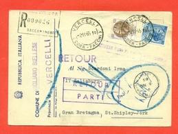 STORIA POSTALE PER L'ESTERO-CARTOLINA ELETTORALE RACCOMANDATA AEREA-DA VIGLIANO BIELLESE PER LA GRAN BRETAGNA-SIRACUSANA - 6. 1946-.. Repubblica