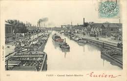 PARIS - Canal Saint Martin, Péniches Et Remorqueur. - Embarcaciones