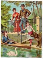 Grande CHROMO Couple Homme Femme Parapluie Enfants Fille Garçon Barque Canoé Chien Cygne - Cromo