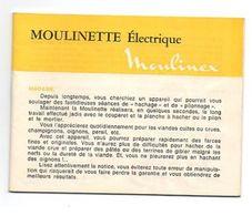 Manuel D'utilisation Et Recettes Moulinette électrique Moulinex De 1975 - Sciences & Technique