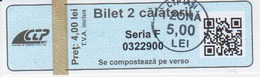 Romania Iasi 2 Trips Transportation Ticket For Bus And Tramway, Used - Europe