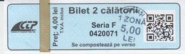 Romania Iasi 2 Trips Transportation Ticket For Bus And Tramway, Used - Tram