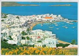 MYKONOS  SILVER-RIPPLED  AZURE  SEA AND  FLOWERING  REKLAND  RING CRESCENT-MODELLED     (VIAGGIATA) - Grecia