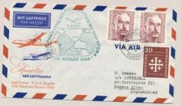 Deutschland  - 1956 - Lufthansa First Flight Frankfurt - Dakar - Rio De Janeiro - Sao Paulo - Buenos Aires - [7] Federal Republic