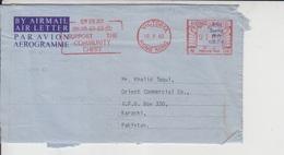 Hong Kong Airmail Cover To Pakistan, Stamp Meter   (A-521) - Hong Kong (1997-...)