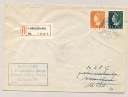 Nederland - 1947 - 5 En 50 Cent Konijnenburg Op R-First Flight Van Amsterdam Naar New York / USA - 1891-1948 (Wilhelmine)