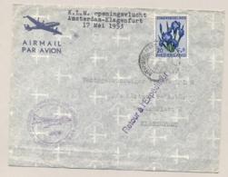 Nederland - 1953 - 20 Cent Zomerzegel Op First Flight Van Amsterdam Naar Klagenfurt - Bloemen / Flowers - Periode 1949-1980 (Juliana)