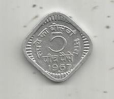 Monnaie , INDE , 5 Paise ,1967 , INDIA , 2 Scans - India