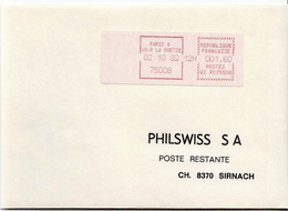 Postal History Cover: France With Automatic Stamp, Cover From 02.10.1982 Sent To Switzerland - 1981-84 LS & LSA Prototypes