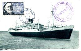 """N°67071 -cpsm Le Havre -paquebots """"Laennec"""" Cachet Cie Navigation Sud Atlantique- - Steamers"""