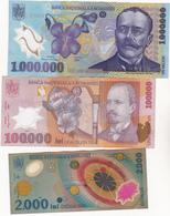 Romania 1000000, 100000 + 2000 Lei Polymer 1999, 2001, 2003 - Roumanie