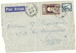 LETTRE AVEC TIMBRE D'INDOCHINE OBLITERATION PHNOM PENH CAMBODGE POUR SAIGON - Marcophilie (Lettres)