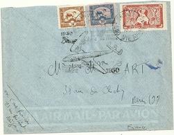 LETTRE AVEC TIMBRE D'INDOCHINE OBLITERATION SAIGON RP SUD VIETNAM 20eme Anniversaire Liaison Air France - Marcophilie (Lettres)