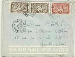 LETTRE AVEC TIMBRE D'INDOCHINE OBLITERATION HANOI VIET NAM EN 1951 - Marcophilie (Lettres)