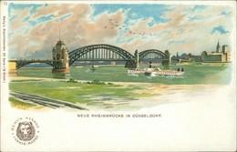 Ansichtskarte Düsseldorf Künstlerkarte: Rheinbrücke 1909 - Düsseldorf