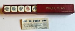 Ancien Jeu De Dès Poker D'as Avec Boîte Et Notice Fabrication Française - Autres Collections