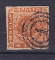 Denmark 1858 Mi. 7 A    4 Skilling Kroninsignien Inm Lorbeerkranz Wmk. 1 X Number '1' KØBENHAVN Cancel !! - Gebraucht
