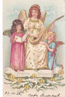 738/ 3 Engelen, Fröhliche Weihnachten, Goud, 1902 - Engelen