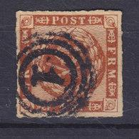 Denmark 1863 Mi. 9    4 Skilling Kroninsignien Inm Lorbeerkranz Wmk. 1 Y Number '1' KØBENHAVN Cancel !! - Gebraucht
