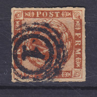 Denmark 1863 Mi. 9    4 Skilling Kroninsignien Inm Lorbeerkranz Wmk. 1 Y Number '1' KØBENHAVN Cancel !! - 1851-63 (Frederik VII)