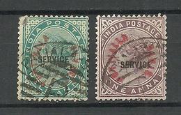 INDIA PUTTIALLA PATIALA 1884 Michel 1 - 2 Service Dienstmarken O - Patiala