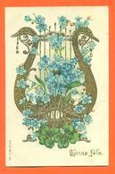 CPA En Relief Chromo Bonne Fete - Harpe - Fleurs - Autres