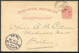 1896 Transval Z.A.R. Stationery Postcard Johannesburg - Werderschen Markt, Berlin Germany - South Africa (...-1961)