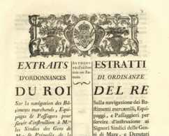 ILE DE CORSE Bastia 1772 Regnier Du Tillet MARINE Santé Ordonnance Du Roi Louis XV 11 Pp. In-fol TBE Navigation Seefahrt - Documents Historiques
