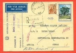 STORIA POSTALE PER L'ESTERO-CARTOLINA ELETTORALE RACCOMANDATA  AEREA-DA  SAGLIANO MICCA PER IL CONGO-SIRACUSANA - 1961-70: Storia Postale