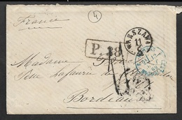 1869 PORTOBRIEF RUSSLAND - WARSZAWA - AUS RUSSLAND ÜBER EISENB.POST BUR Nach BORDEAUX - Pologne