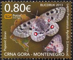 2013, Flora And Fauna, Butterflies, Montenegro, MNH - Montenegro
