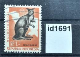 Id1691 Tiere, Animals, Känguru, Kangaroo, Aufdruck: Irian Barat, ID 1968 - Indonesien