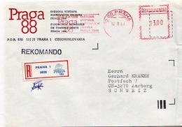 Postal History Cover: Czechoslovakia With Automatic Stamp, R Cover - Czechoslovakia