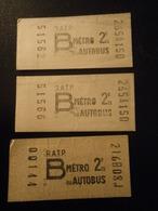 Lot De 3 Tickets R.A.T.P. 2ème Classe B Métro Autobus - Métro