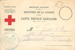 CPA BULLETIN DE SANTE D'un POILU DU 413° EVACUE - FRANCHISE MILITAIRE - CACHET CROIX ROUGE ET HOPITAL D'EVACUATION - Guerra 1914-18