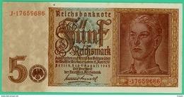 5 Mark - Reichsbanknote - Allemagne - N° J.17659686 - Spl - Berlin 1 Août 1942 - - [ 4] 1933-1945 : Tercer Reich