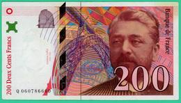 200 Francs - France - Eiffel - 1997 - N° Q0607866660 - TTB+ - - 1992-2000 Ultima Gama