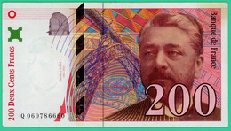 200 Francs - France - Eiffel - 1997 - N° Q0607866660 - TTB+ - - 1992-2000 Dernière Gamme