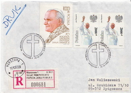 Postal History: Poland R Cover With Pope JPII Cancel - Popes