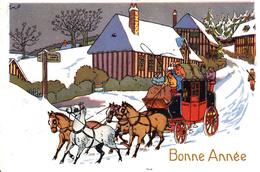Thematiques Voeux Bonne Année  Diligence Le Rallic Non Signé Ou Style Le Rallic - New Year
