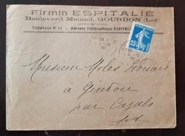 France - Yvert 140 Sur Lettre Entete Publicitaire Firmin ESPITALIE Boulevard Mainiol GOURDON (LOT) Cachet 4/06/1920 - Storia Postale