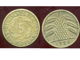 ALLEMAGNE 5  Reichspfennig  1924F - [ 3] 1918-1933 : Weimar Republic