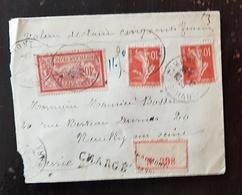 France - Yvert 138 X 2 Et 119 Sur Lettre Recommandée Et Chargée CAD NEUILLY En 1917 Cachet 20/12/1917 - Storia Postale