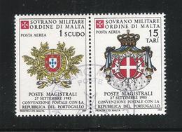 S.M.O.M. SOVRANO MILITARE ORDINE DI MALTA - 1985: 2 Valori Obliterati Di P.A. - Convenzione Postale Con Il PORTOGALLO. - Sovrano Militare Ordine Di Malta