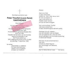 P 798. Pater T. VANTHIENEN (LOUIS RENE) -Assumptionist- °KORTENAKEN 1921 / TAINTIGNIES/ BERGEIJK (NL.)- +ST-TRUIDEN 1994 - Images Religieuses