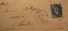 "R1712/78 - ✉️ (LSC) - NAPOLEON III N°14B - PARIS BUREAU "" E "" Du 2 AVRIL 1862 > CHARTRES - 1853-1860 Napoléon III"
