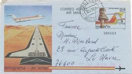 ESPAGNE - AEROGRAMME CAD 10/1/1985 POUR LE HAVRE FRANCE - Entiers Postaux